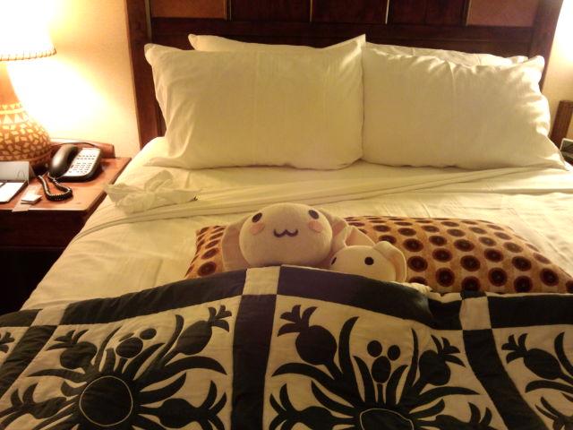 アウラニディズニーリゾートのベッドカバー。